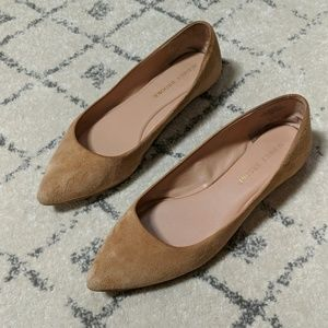 Audrey Brooke Camel Suede Pointed Toe Flats
